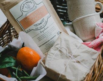 Homestead Peach Tea W/ Peaches, Rose Hips   ORGANIC Herbal Fruit Tisane Winterwoods Loose Leaf Tea Blend