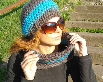 crochet hat, neck warmer, hat set, neckwarmer set, hat and scarf set, turquoise, chocolate, warm set, winter accessories, ready to ship
