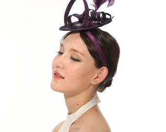 Loop Fascinator Hat for Weddings,church Tea Party Purple