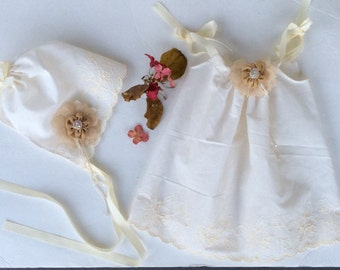 pillow case dress with bonnet