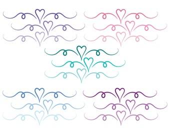 Heart divider, heart divider clip art, swirl clipart dividers, wedding flourish, wedding heart divider, Commercial Use, heart clipart swirl