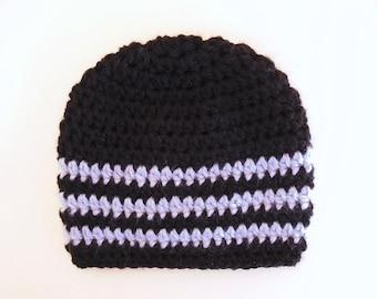 Newborn boy hat Crochet baby hat Striped boy hat Black baby boy hat Hospital boy hat Baby boy hat Winter newborn hat Crochet boys hat