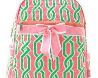 Quilted coral vine back pack