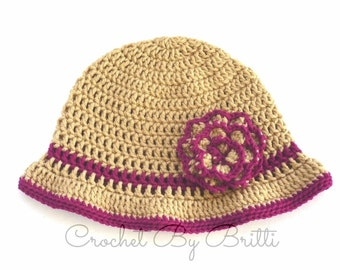 Sun Hat with Flower / Cloche Hat / Floppy Brim / Handmade by Britti