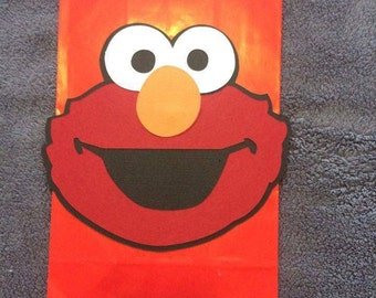 Elmo set of 12 Party Favor bags. Hand Made Elmo heads.