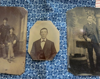 3 Tintypes: Men 1870s-80s
