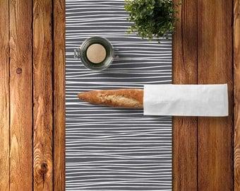 Stripes Table Runner, Linen Canvas Table Runner, Grey Table Runner, Minimalist Table Runner, Minimalist Kitchen Decor, Modern Table Runner