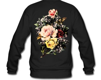 Vintage Roses Flowers Bouquet Back Print Ethically Produced Sweatshirt Sweater For Men. Sizes M-XXL. Black.