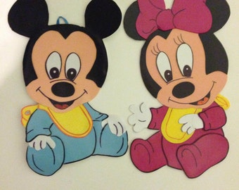 baby mickey mouse and Minnie Mouse set of 2 wall decoration cutout.  Mickey Mouse Clubhouse theme
