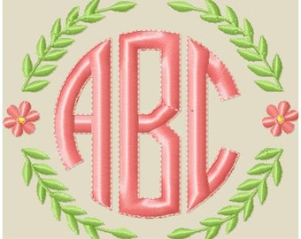 Machine Embroidery Design - Laurel Monogram Frame - comes in 5 sizes 8x9,
