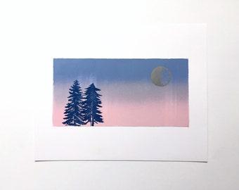 SALE! Letterpress Print  - Silver Moon Over Pine Trees