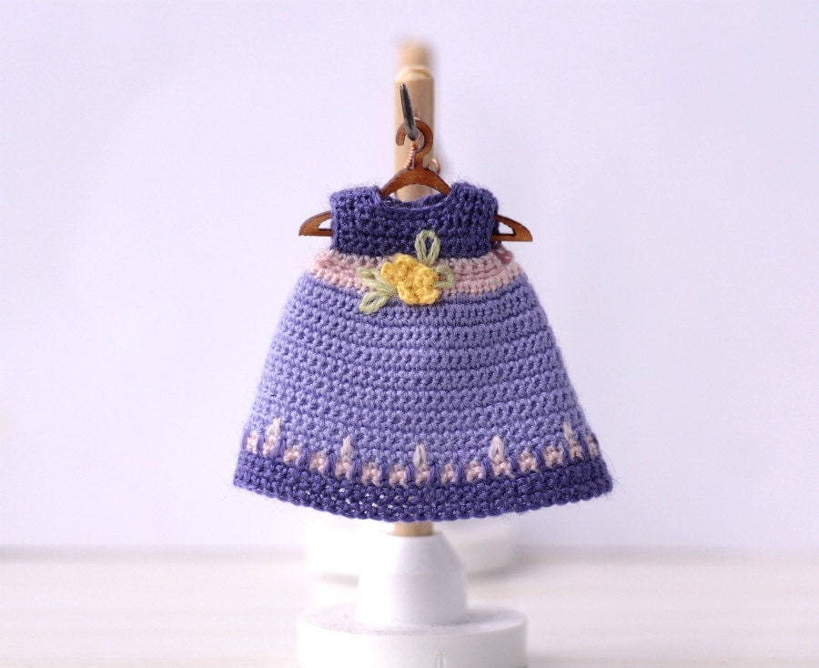 Crochet Mini Doll Clothes : 4 doll Miniature crocheted dress with ornament. violet