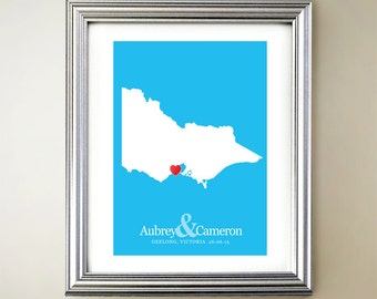 Victoria Custom Vertical Heart Map Art - Personalized names, wedding gift, engagement, anniversary date