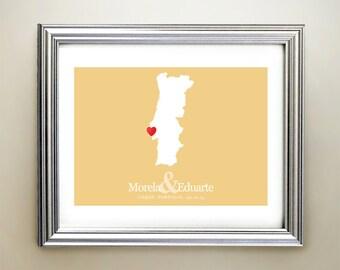 Portugal Custom Horizontal Heart Map Art - Personalized names, wedding gift, engagement, anniversary date