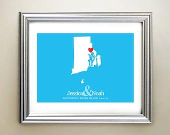Rhode Island Custom Horizontal Heart Map Art - Personalized names, wedding gift, engagement, anniversary date