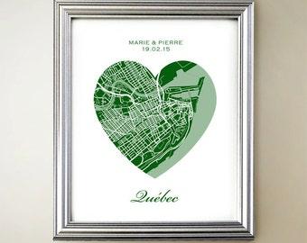 Quebec City Heart Map Print
