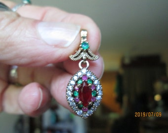 Art Deco Ruby, Emerald, & Icy White Sapphire Rose Gold/Sterling Silver Pendant, Wt. 3.8 Grams