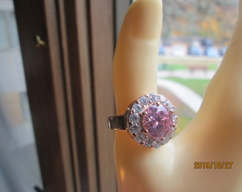 Vintage Elegant 5.41ctw Pink and White Sapphire 14K Rose Gold/925 Sterling Silver Ring Size 7, Wt. 8.7 Grams