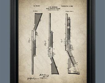 Shotgun Patent Print Poster - Gift for Hunter - Shot Gun Patent - Hunting Rifle - Outdoor Art - Gun Art -Browning Auto 5 - #096