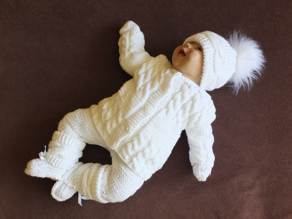 White Baby Coming Home Outfit Knitted Baby Clothes