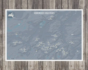 "Adirondack Peak Map 18""x24"""