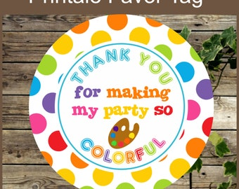 Art Party Favor Tags, Birthday Painting Party Printable Favor Gift Tag, Instant Download Colorful Rainbow Kids Birthday Cupcake Toppers
