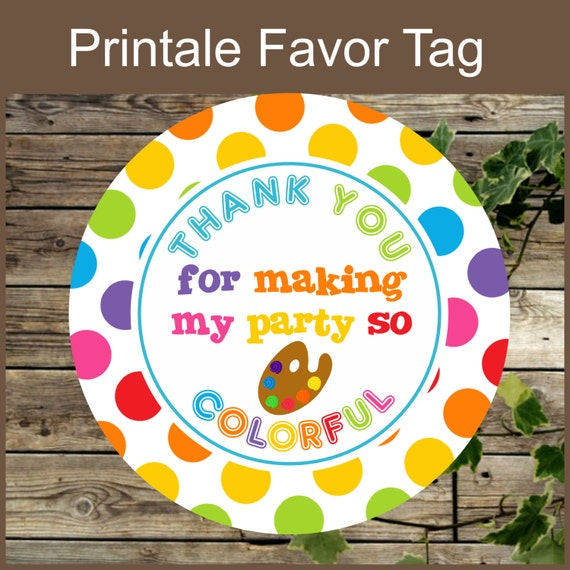 art party favor tags birthday painting party printable favor gift