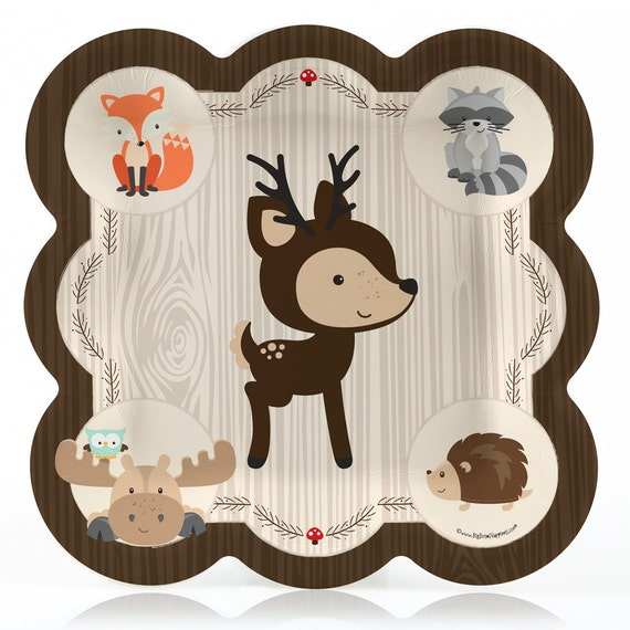 Il_570xn & Woodland Dinner Plates - Woodland Creatures Baby Shower or Birthday ...