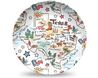 Texas Plastic Plate, Texas State Map Plastic Plate - High End Plastic