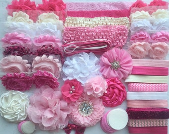 "Baby Shower Headband Kit ""Pretty in Pink"", Baby Shower Headband Station, DIY Headband kit, Baby Girl Headbands, Baby Headband Kit"