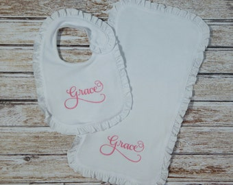 Bib and Burp Cloth, Personalized; Baby girl bib, burp cloth personalized; Bib and Burp cloth; Baby gown