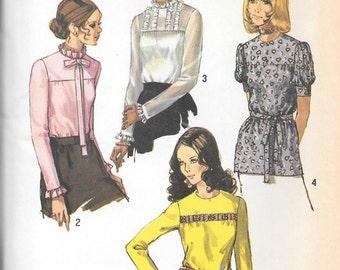 Vintage 1970s Simplicity Sewing Pattern 9159- Misses' Blouses size 14 bust 36 uncut