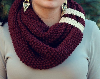 Burgundy Infinity Scarf with Two Lace Straps, Knitted Scarf, Crochet, Scarf with Straps, Vintage Scarves, Unique Scarves, Handmade