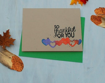 Thank You Card Set- Custom Thank You Card Set / Blank Notecards / Thankful For You /  Cards Handmade / Thank You Notes / Fall Notecards