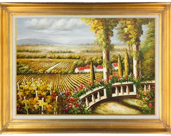 Oil Painting of Tuscan Vineyard with, Pillars, Rose Garden and Grape vine, 24 X 36 in Modern Floater or Traditional Gold Frame