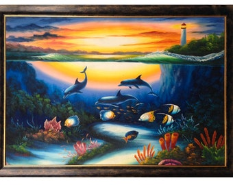 Christian Lassen Genre Underwater World with Dolphins and Tropical Fish Original Oil Painting on Stretched Canvas (36x48)