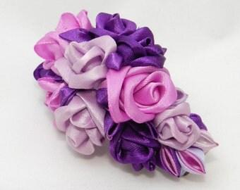 Tsumami Kanzashi Roses Hair Clip