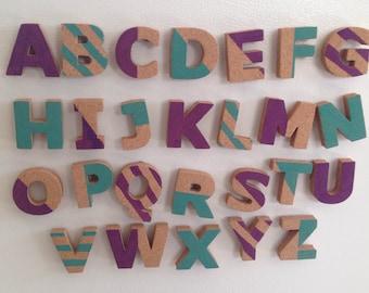 Cork Alphabet Magnets