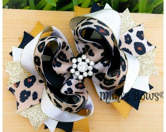 Cheetah and Gold Boutique Hair Bow!