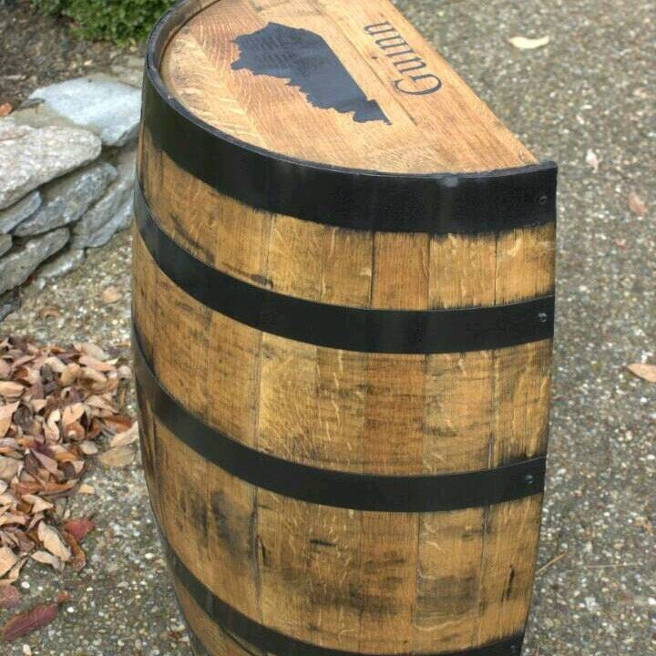 sale natural finish half bourbon whiskey barrel with shelf