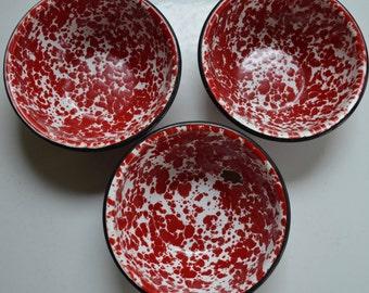 "SET of 3 - White and Red 6"" Enamelware Cereal Bowl - Black Rim - Graniteware Spatterware - Great for Camping"