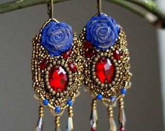 Goth earrings, Victorian earrings, lace earrings, bead embroidery earrings, Marie Antoinette earrings, Baroque earrings, boho earrings