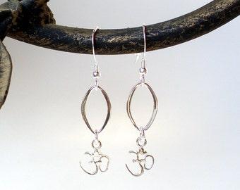 Sterling Silver Ohm Earrings - Yoga Jewelry