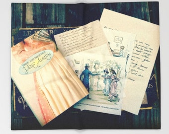 Jane Austen Throw Blanket: Bedding, book, illustration, letters, dorm, library, Pride and Prejudice, pink