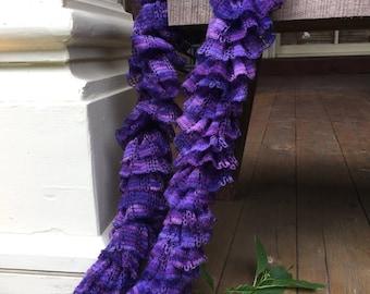 Soft Ruffle Scarf in Purple