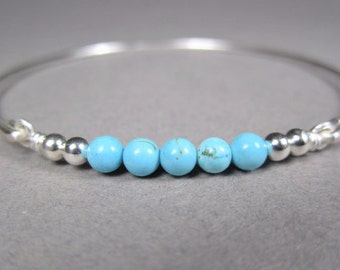 Silver Turquoise Gemstone Bracelet, Bangle Bracelet, Sterling Silver, December Birthstone Jewelry, Bridesmaid Gift, Gifts For Her