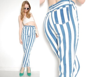 vintage 80s jeans denim white striped print high waisted waist taperd skinny blue jeans pants S