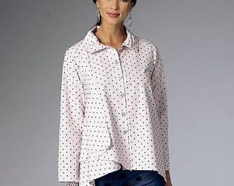 Butterick Sewing Pattern B6325 Misses' Pleated-Collar Asymmetrical-Hem Shirts