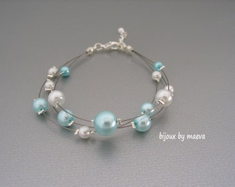 Wedding Jewelry Bracelet turquoise and white pearls