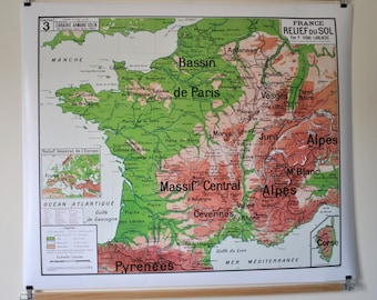 Reproduction of old school map No. 3 by Vidal cast Relief France